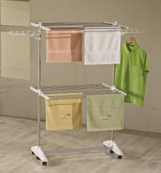 Luxus E2 Wäscheständer One Click Wäscheturm 2 Ebenen mit Rollen