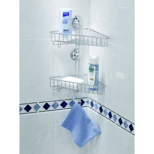 EVERLOC EL 10202 Duschkorb für Dusche 2-Etagen Eckablage OHNE Bohren und Schrauben