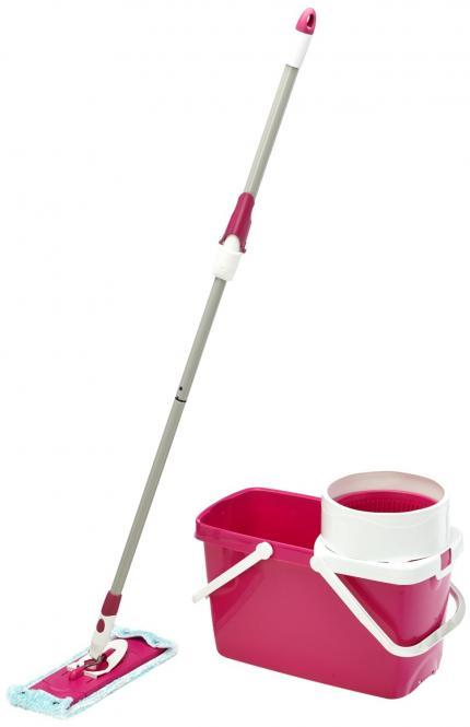 Leifheit 52041 Bodenwischer & Eimer Clean Twist System Set sweet pink