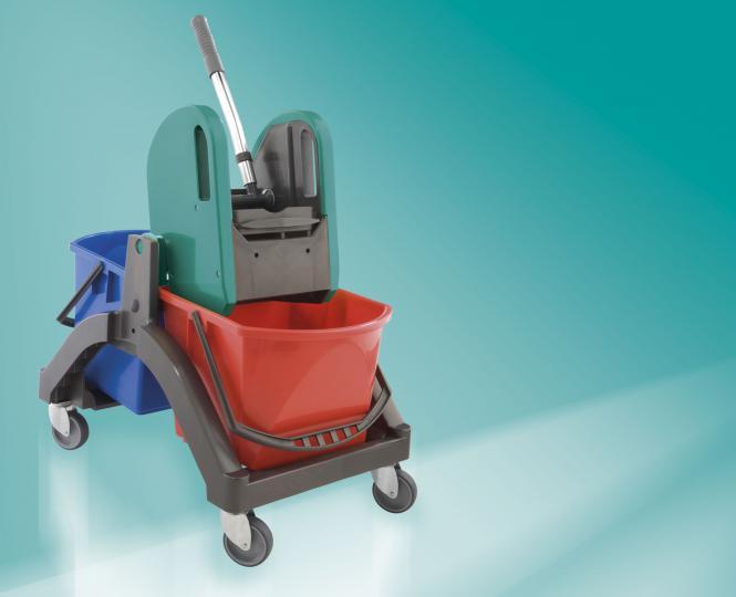 Leifheit 59101 Professional Nasswischwagen Duo Haushalt und Gewerbe Perfekt Clean